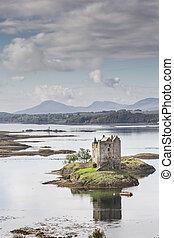 Castle Stalker on Loch Laich in Scotland.