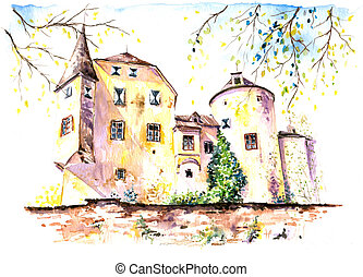 Castle - Part of old castle watercolor painted.Picture I...