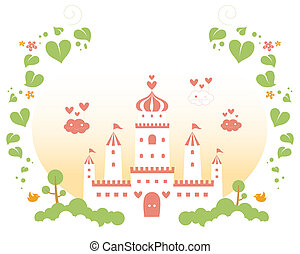 castle - drawing of beautiful castle with red heart,green...