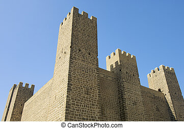 Castle in Sadaba with blue sky, Spain