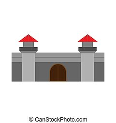 Castle stone history vector icon. Outdoor town medieval fantasy monument exterior concept