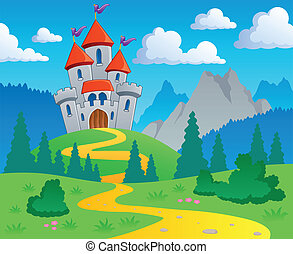 Castle theme landscape 1 - vector illustration.