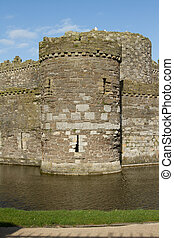 Castle tower and moat. - An historic castle corner tower...