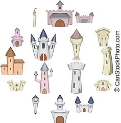 Castle tower icons set, cartoon style