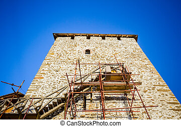 Castle tower in reconstruction