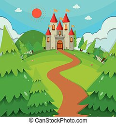 Castle towers at daytime illustration