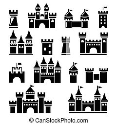 Castle, towers vector icons set - Buildings icons set -...