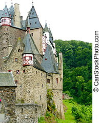 Castle Turrets - Multiple turrets on the exterior of Burg...