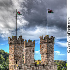 Castle turrets with flags