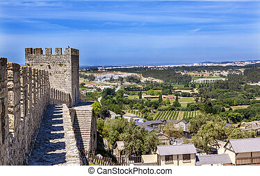 Castle Turrets Towers Walls Countrside Obidos Portugal -...