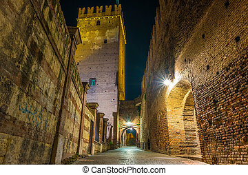 Castle Vecchio at summer night in Verona, Italy