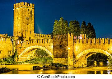 Castle Vecchio at summer night in Verona, Italy