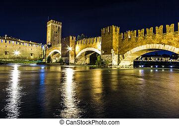 Castle Vecchio in Verona, Italy - Castle Vecchio at summer...