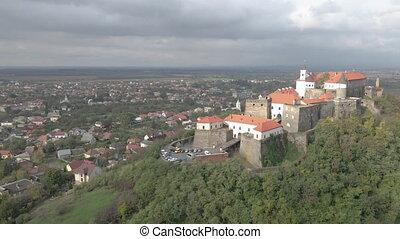 castle., vue., palanok, mukachevo., ukraine., aérien