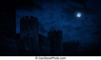 Castle Wall At Night With Full Moon