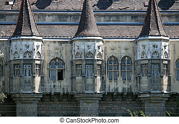 castle wall detail Budapest Hungary