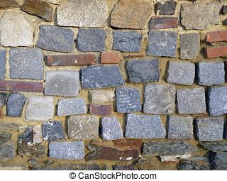 Castle-wall with cobblestones in Cheb (Eger) in Bohemia,...