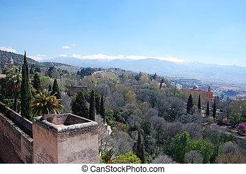 Castle walls and mountains, Granada