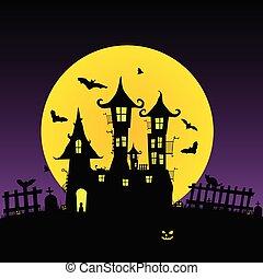 castle with bats vector five