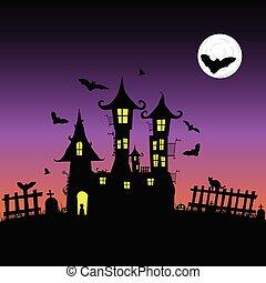 castle with bats vector six