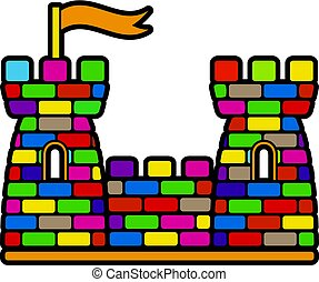 Castle with colorful bricks logo