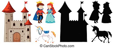Castle with prince and princess and horse in color and silhouette isolated on white background