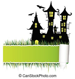 castle with tearing paper vector illustration