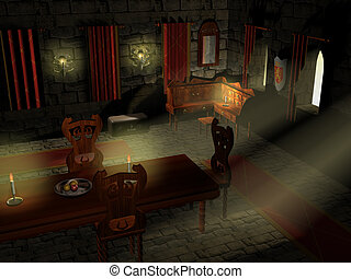 Castlemania - An interiour scene of a 3d rendered 13th...