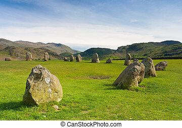 castlerigg, kamienie, koło, w, keswick