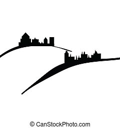illustration of old ancient castles on the hills