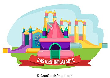 Castles inflatable set for summer rest isolated on white -...