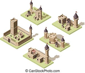 Castles low poly. Video game isometric assets medieval buildings from old rocks and bricks 3d houses vector old fort