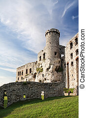 Gothic rocky castles in Poland. Touristic route of Eagle's Nest between Cracow and Czestochowa.