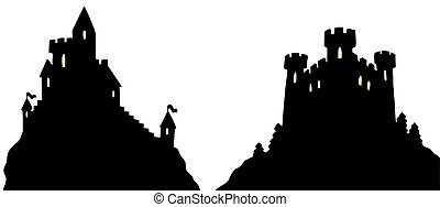 Castles silhouettes on white background - isolated...