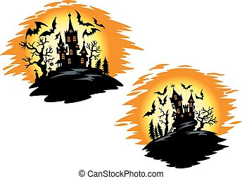 Castles with bats in halloween invitation template