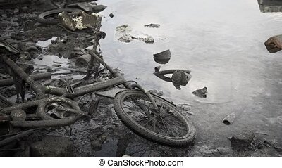 Castoff Bicycle and Other Garbage on a Beach in the Maldives...