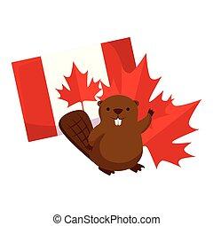 castor, drapeau, feuille, érable, canadien