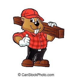 castor, madeira, prancha, segurando