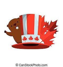 castor, tophat, feuille, érable, canadien