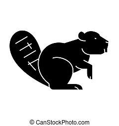 castor, vecteur, fond, icône, isolé, signe, illustration