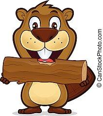 castoro, legno, mangiare