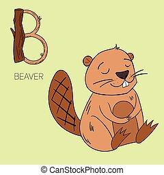 castoro, lettera alfabeto, bambini, b
