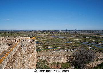 Castro Marim saline view from the castle in Algarve, Portugal