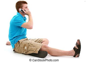 casual, adolescente, falando, ligado, cellphone
