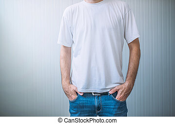Casual adult male wearing blank white t-shirt