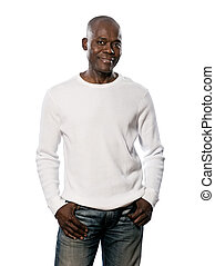 Casual afro American man standing with hands in pocket -...