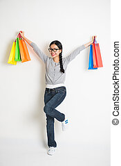 casual asian chinese with christmas gifts on white background
