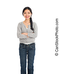 casual asian female with jeans and sweater