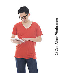 casual asian man with a tablet computer
