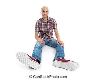 casual, assento homem, chão